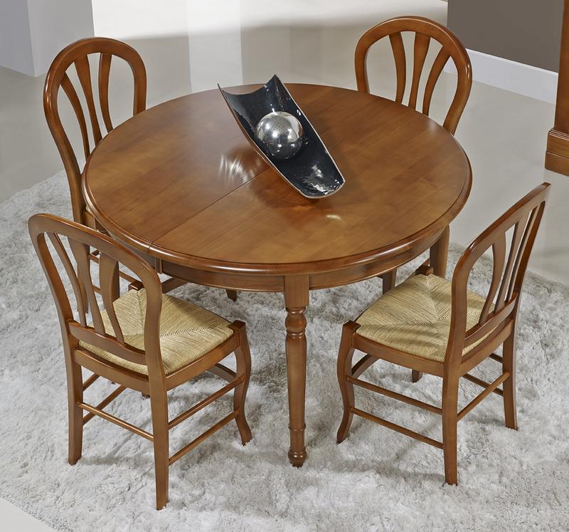 mesa redonda aurora hecha de madera maciza de cerezo estilo louis philippe dimetro