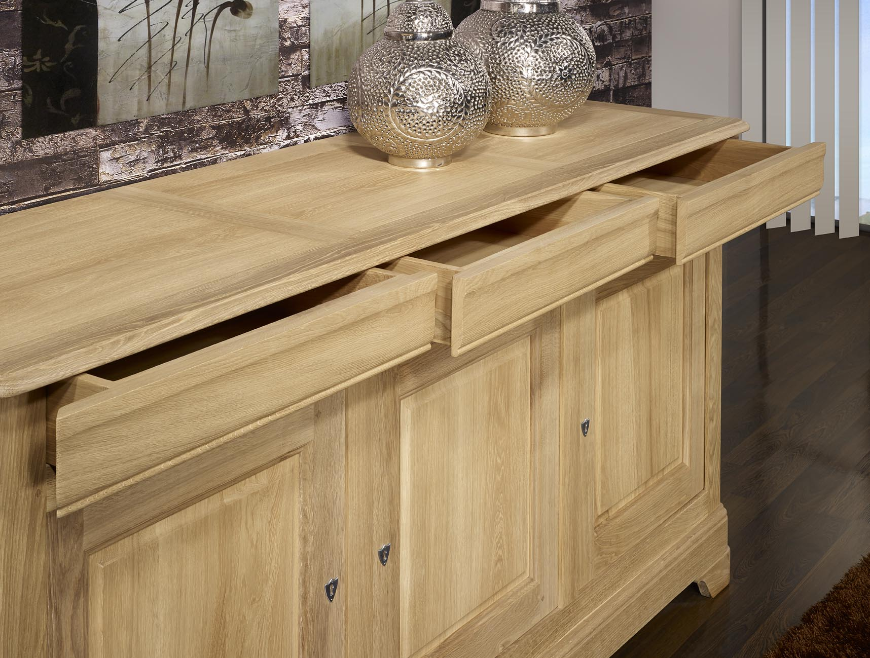 Buffet aparador 3 puertas lucio en madera de roble macizo for Puerta de roble macizo castorama