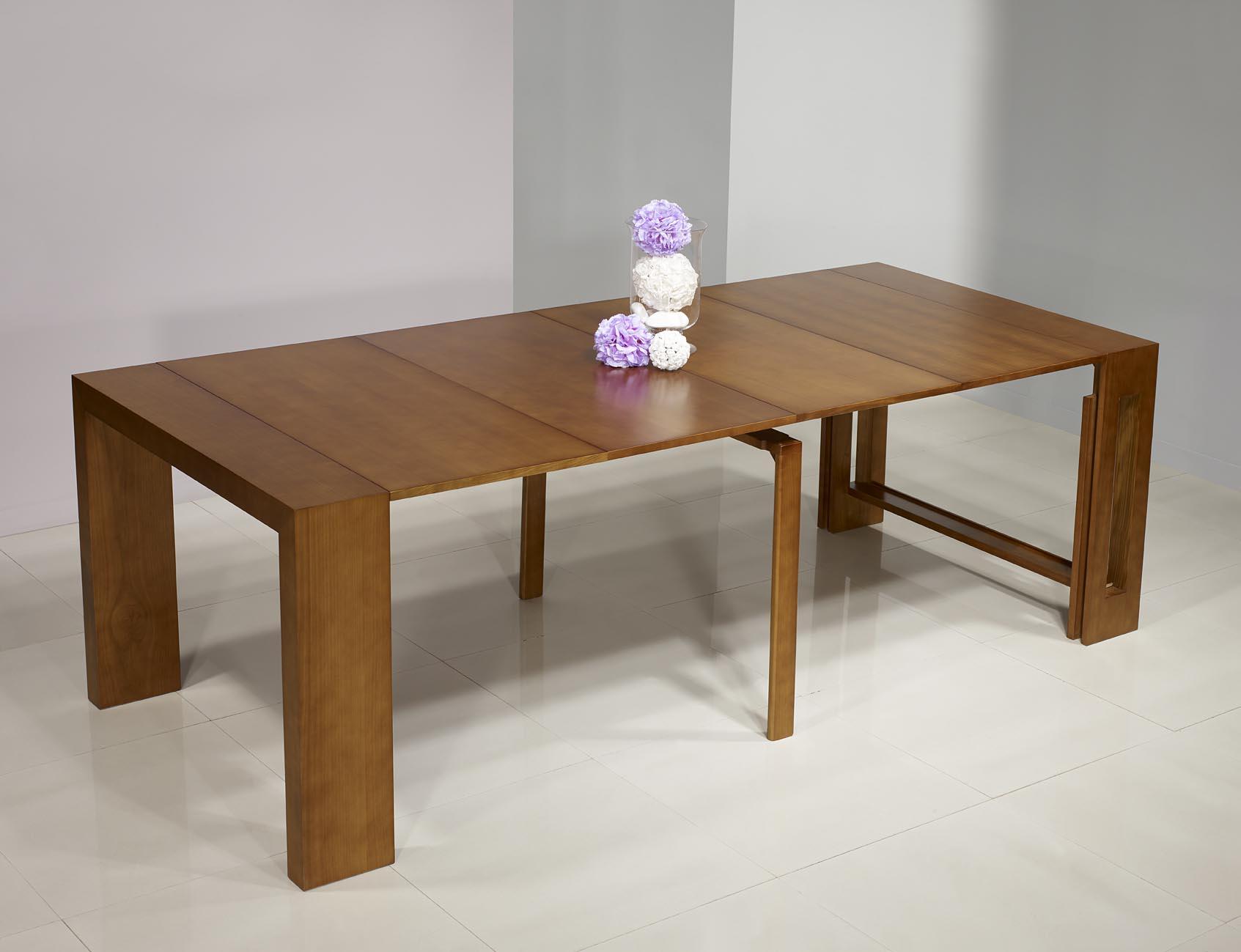 Consola mesa extensible hecha en cerezo macizo contempor nea con 4 extensiones meuble en - Mesa extensible color cerezo ...