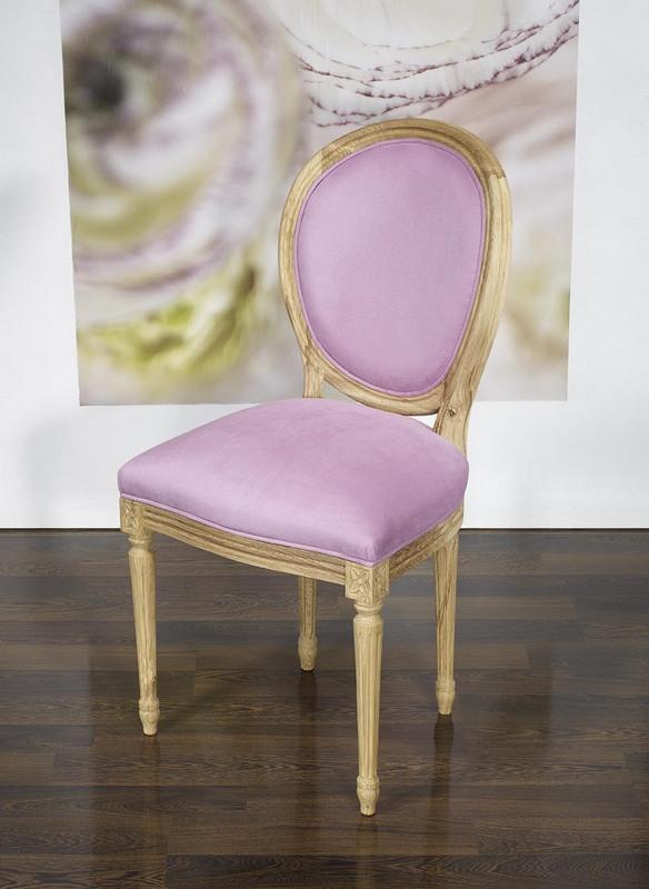 Silla de madera de roble s lido estilo luis xvi acabado cepillado asiento tela lilas meuble en - Sillas estilo luis xvi ...