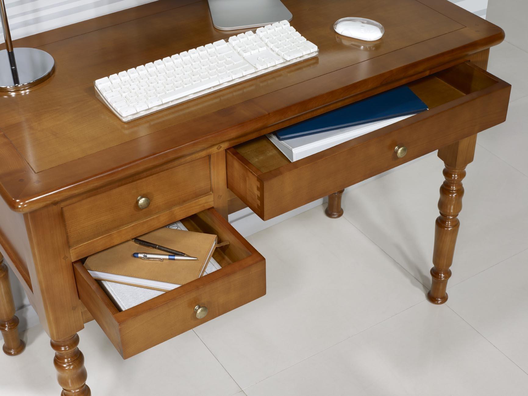 Mesa escritorio r my en madera maciza de cerezo estilo louis philippe meuble en merisier - Mesa escritorio madera ...