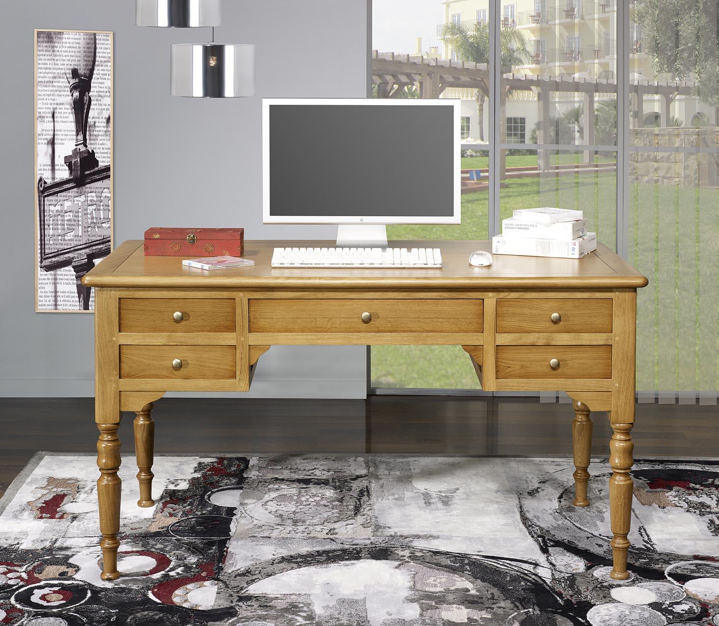 mc191 mesa escritorio hugo con 5 cajones hecha en roble macizo estilo louis philippe meuble en. Black Bedroom Furniture Sets. Home Design Ideas