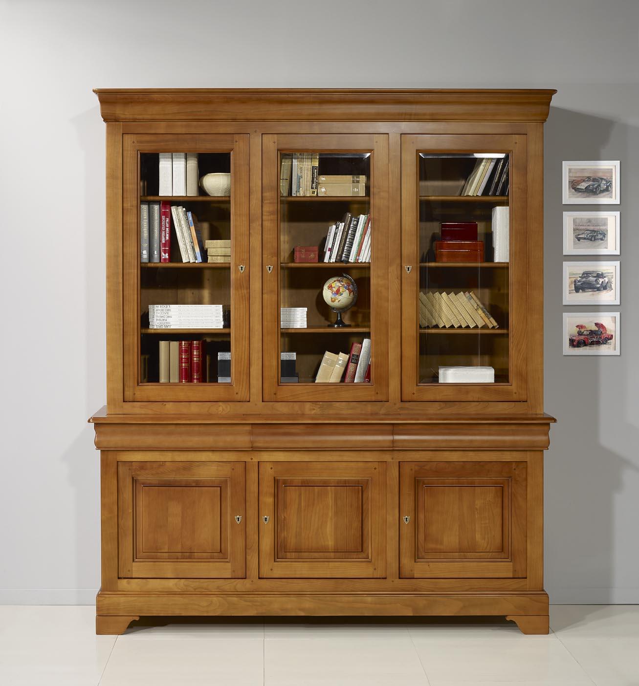 Biblioteca 2 cuerpos 3 puertas nicolas hecha de cerezo macizo estilo louis philippe meuble en - Meubles en merisier louis philippe ...