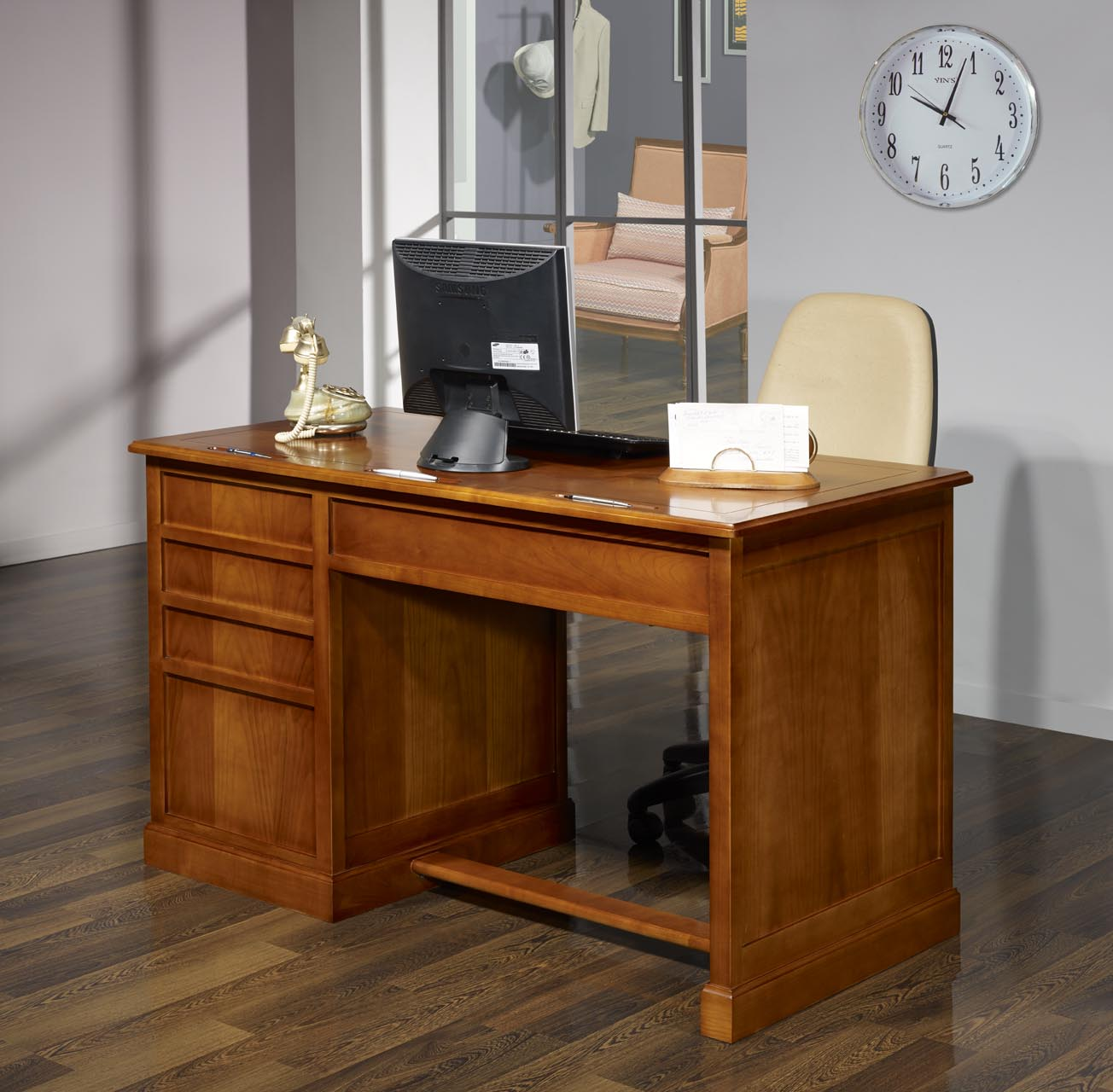 Mesa oficina escritorio jeanne con 5 cajones hecho de cereza maciza estilo louis philippe - Mesa escritorio con cajones ...