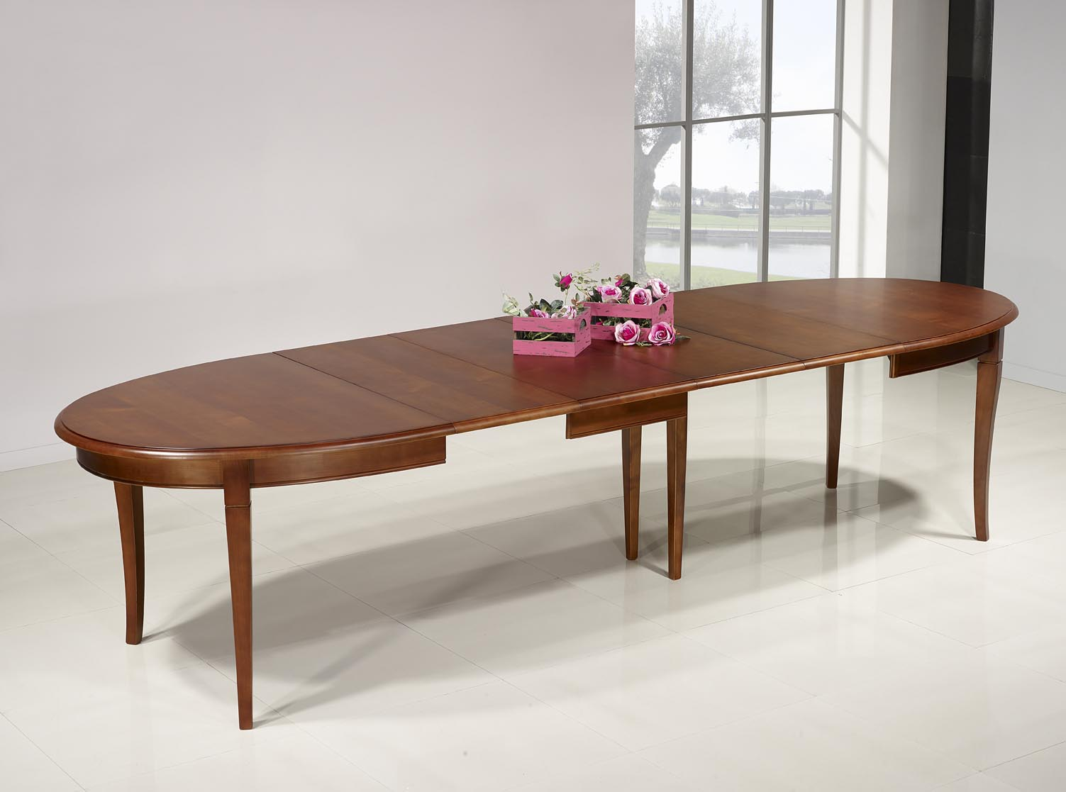 Mesa de comedor ovalada estelle hecha en madera maciza de for Mesa comedor ovalada