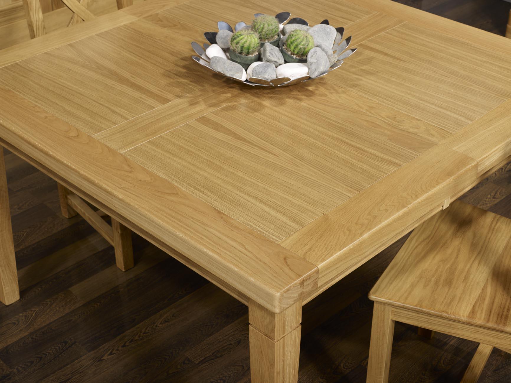 Mesa de comedor cuadrada de madera de roble macizo 130x130 estilo ...
