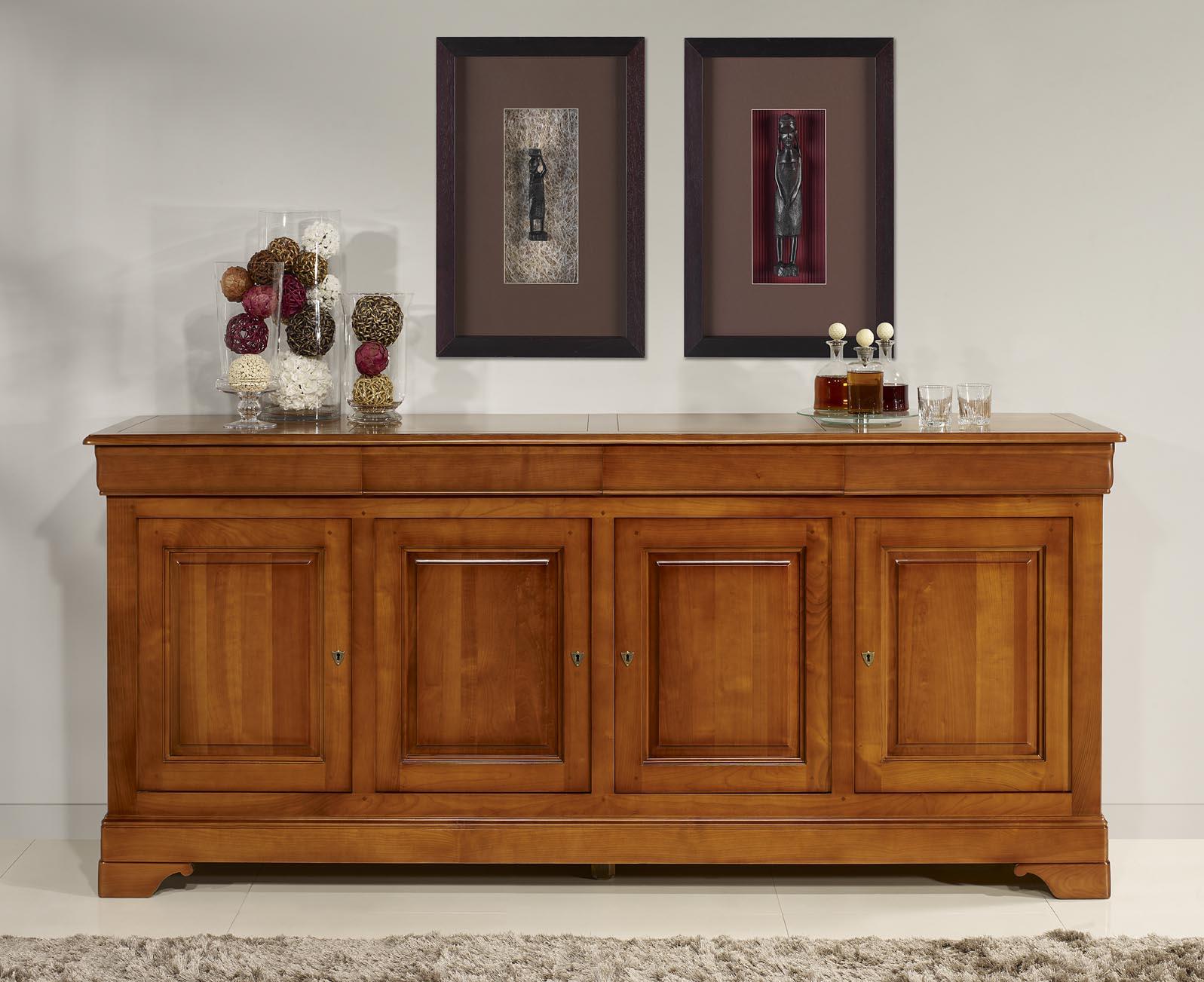 aparador buffet 4 puertas laura hecha en cerezo macizo estilo louis philippe meuble en merisier. Black Bedroom Furniture Sets. Home Design Ideas