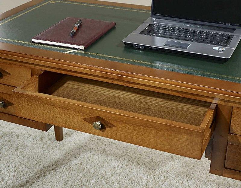 Mesa escritorio nicolas con 5 cajones hecha de cerezo for Mesa escritorio con cajones