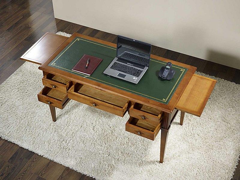 Mesa escritorio nicolas con 5 cajones hecha de cerezo macizo al estilo directorio meuble en - Mesa escritorio con cajones ...
