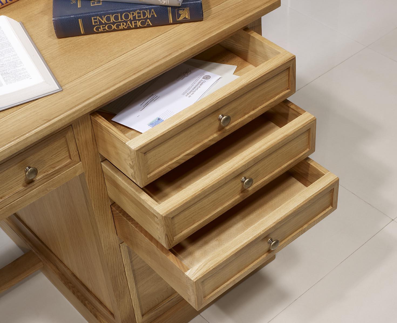 Mesa oficina escritorio con 5 cajones hecha de roble - Mesa escritorio con cajones ...