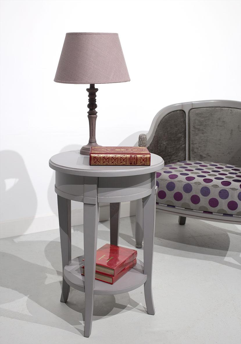 Mesa redonda con pedestal fabricada en madera maciza de cerezo en  estilo Clarisse Directoire
