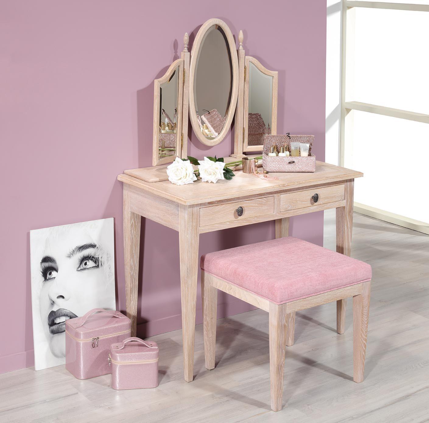 Asiento para tocador o mesa secretaria en madera maciza de for Tocador de madera maciza