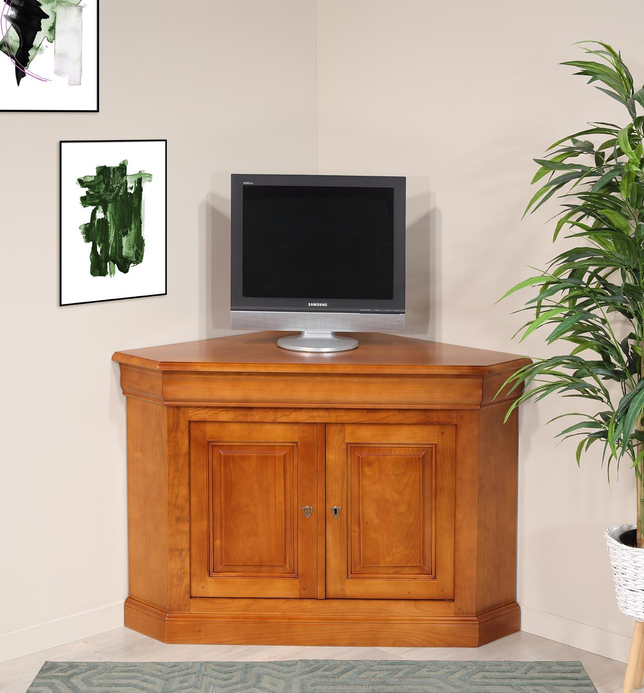Mueble de TV esquinero de 2 puertas fabricado en madera de cerezo maciza en estilo Louis Philippe