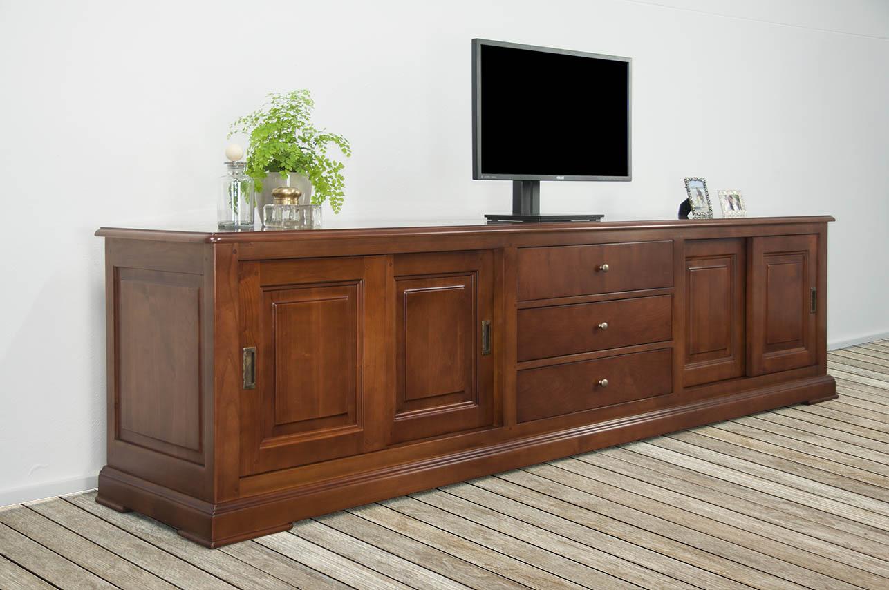 Mueble tv beatriz hecho en cerezo macizo estilo louis - Mueble para tv con puertas ...