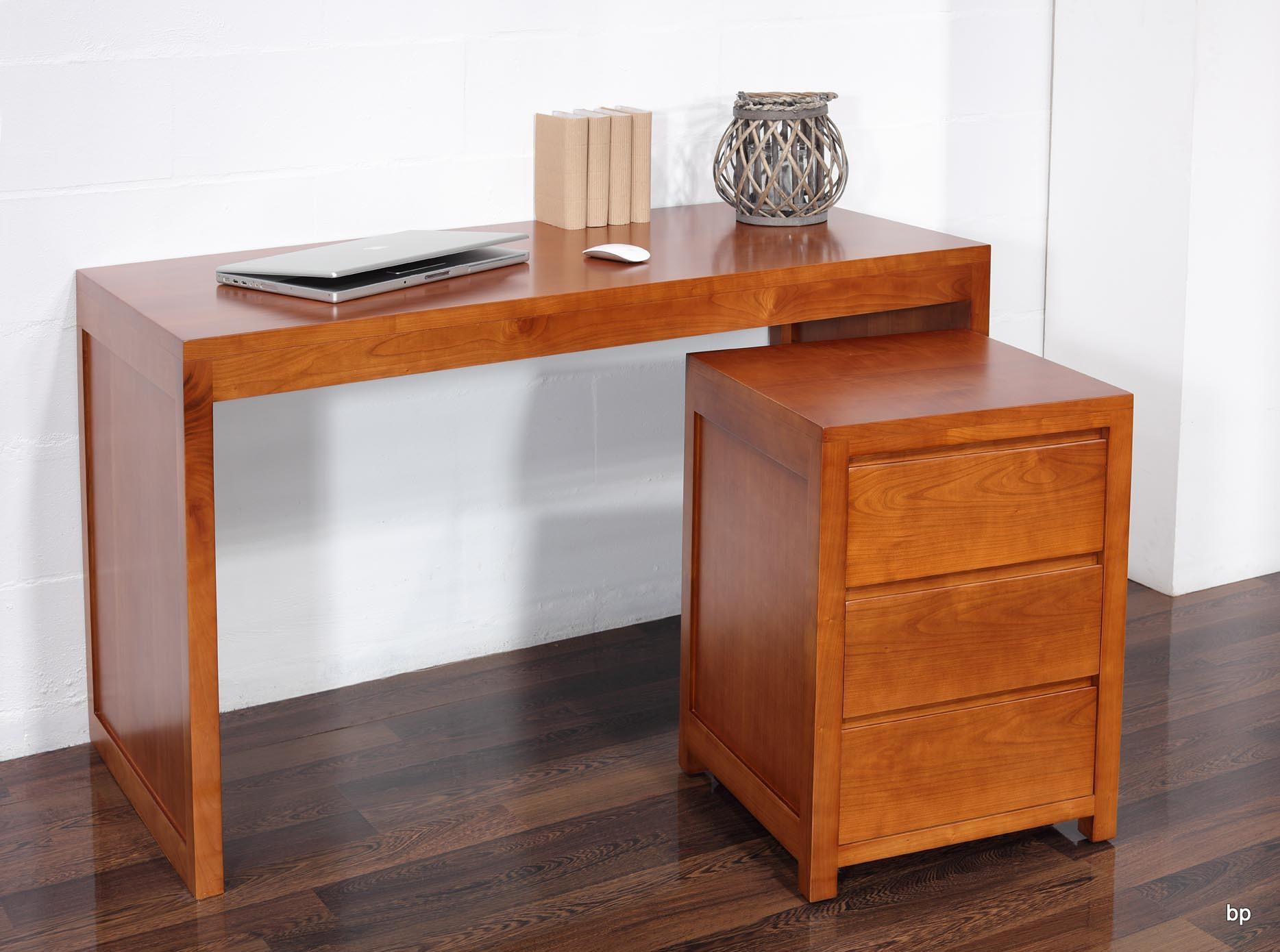 Mesa escritorio estilo contempor neo en madera cerezo - Mesa escritorio con cajones ...