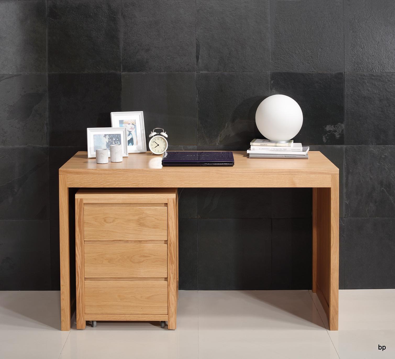 Mesa escritorio estilo contempor neo en madera de roble - Mesa escritorio con cajones ...