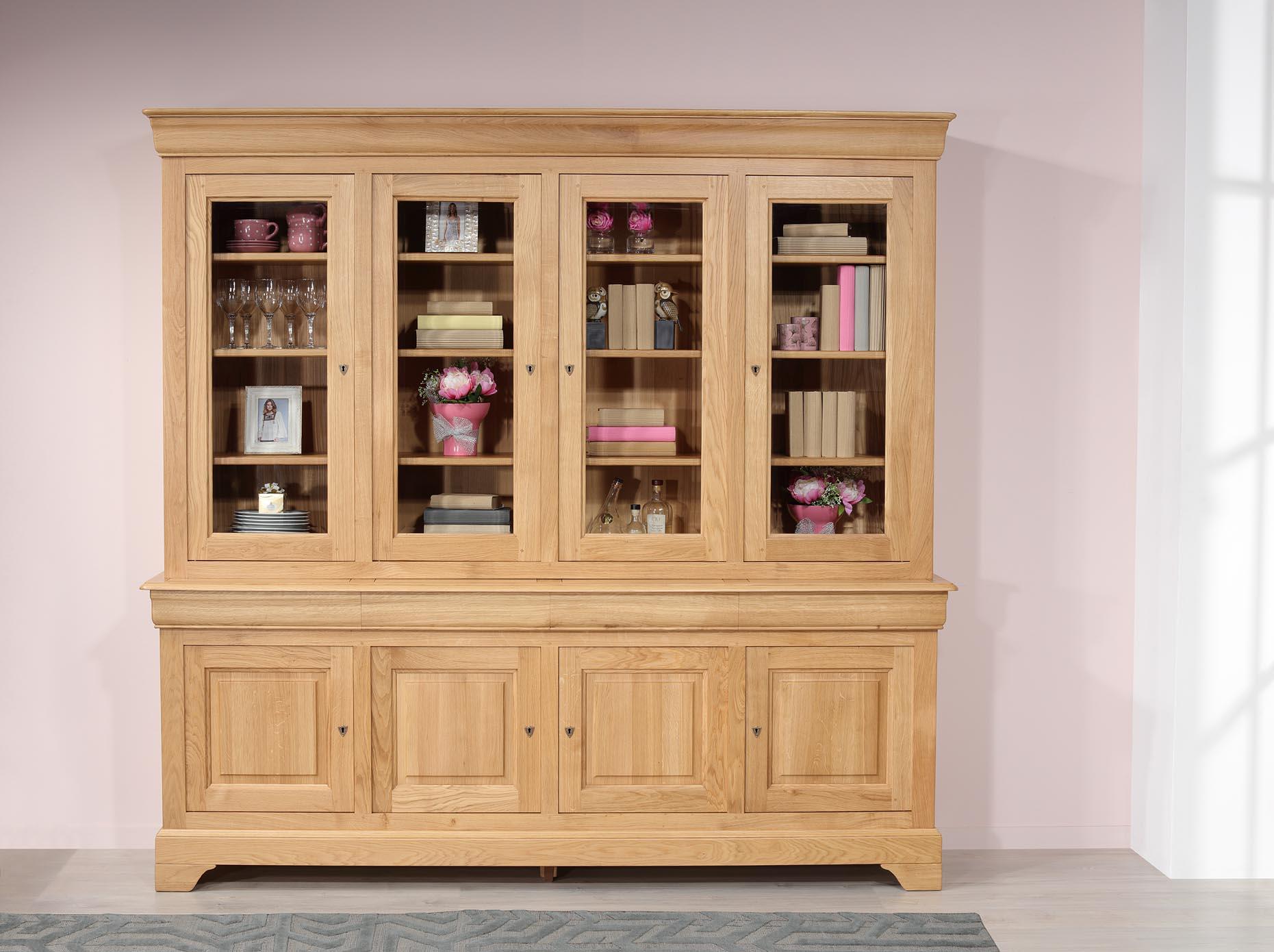 Biblioteca de 4 puertas fabricada en madera de roble macizo estilo Louis Philippe