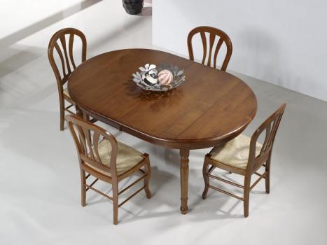 Mesa de comedor ovalada fabricada en madera de cerezo macizo al estilo Louis Philippe 160*120cm