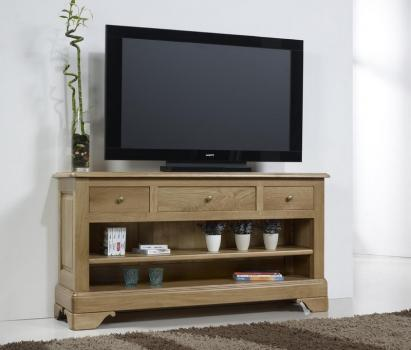 Mueble TV Paul 16/9 fabricado en madera de roble macizo al estilo Louis Philippe