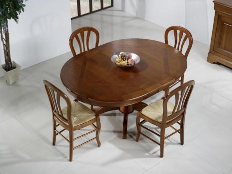 Mesa de comedor ovalada 160x120 fabricado en madera de roble macizo al estilo Louis Philippe + 3 extensiones de 40 cm
