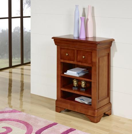 Estantería librería fabricada en madera de cerezo maciza al estilo Louis Philippe