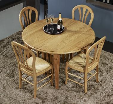 Mesa de comedor redonda BASTIEN diámetro 120 cm  con alas abatibles fabricada en madera de roble macizo al estilo Louis Philippe 10 extensiones de 40 cm