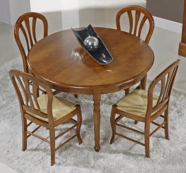 Mesa de comedor redonda Aurora fabricada en madera de Cerezo maciza al estilo Louis Philippe diámetro 120 cm + 3 extensiones