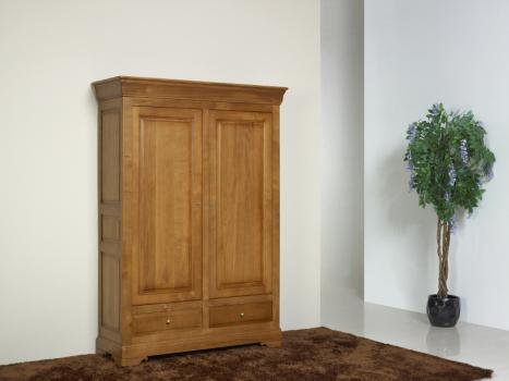 Armario Eric de 2 puertas fabricado en madera de roble macizo estilo Louis Philippe acabado roble cepillado