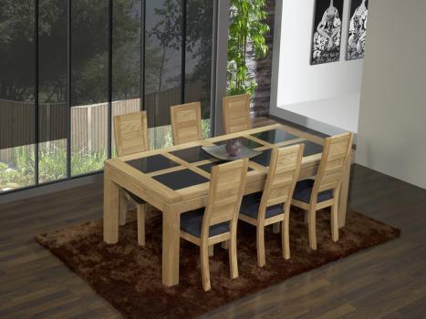 Mesa de comedor rectangular 200X100 MATHIS fabricada en madera de Roble macizo Estilo Contemporáneo