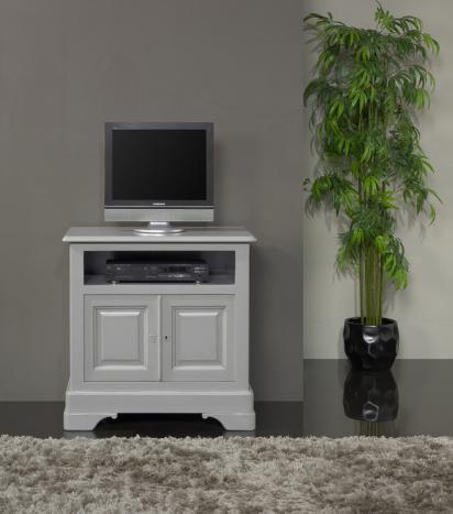 Mueble tv Marie-Lise fabricado en madera de cerezo macizo al estilo de Louis Philippe