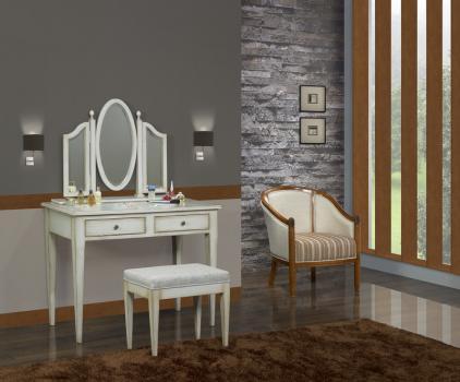 Mesa de Toilette o Tocador realizada en madera de roble macizo estilo Louis Philippe