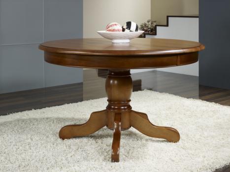 Mesa de comedor redonda con pata central Sandra fabricada en madera de Cerezo macizo al estilo Louis Philippe diámetro 110cm + 2 extensiones