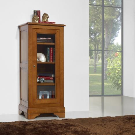 Armario vitrina Virginia de 1 puerta fabricado en madera maciza de cerezo al estilo Louis Philippe