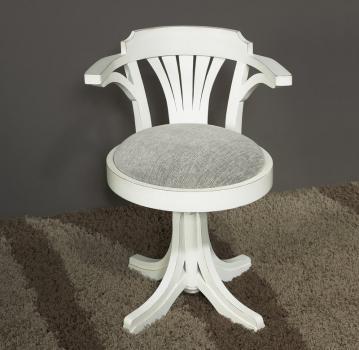 Silla de escritorio Valeria fabricada en madera de haya maciza lavado blanco antik