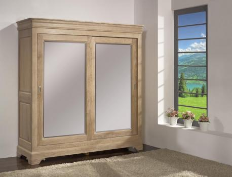 Armario Guillaume de 2 puertas fabricado en madera de roble macizo en estilo Louis Philippe