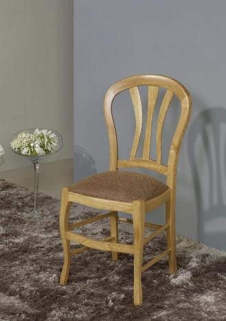 Silla fabricada de madera maciza de roble estilo Louis Philippe asiento Tela gris pardo