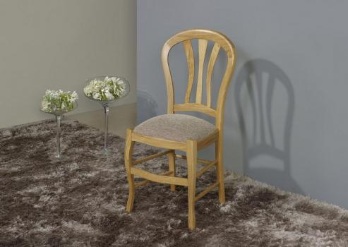 Silla fabricada de madera maciza de roble estilo Louis Philippe asiento tela beige
