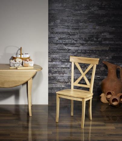 Silla Filipe fabricada en madera maciza de roble estilo rústico