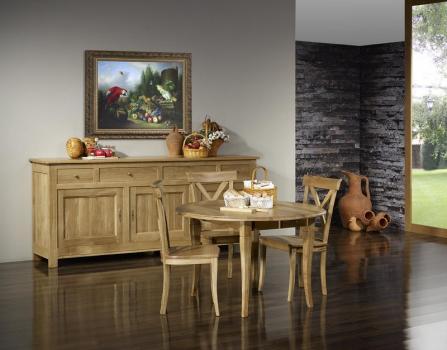 Mesa de comedor redonda Justin con alas abatibles fabricada en madera de roble macizo al estilo Louis Philippe, diámetro 120 cm.