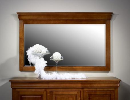 Espejo de cristal biselado 100x180 fabricado en madera de cerezo macizo en estilo Louis Philippe