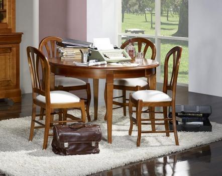 Mesa de comedor redonda fabricada en madera de cereza maciza al estilo Louis Philippe Diámetro 100 cm + 1 extensión cartera