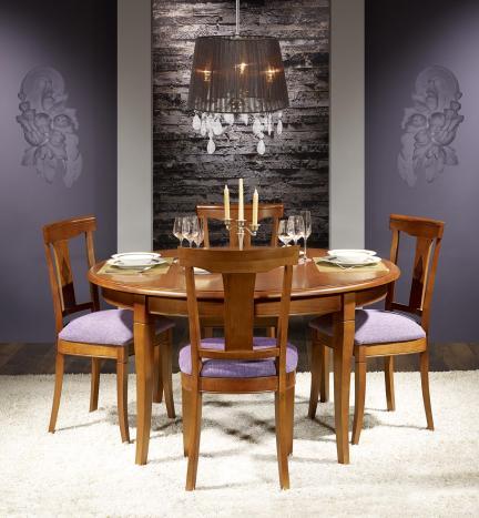 Mesa de comedor redonda Joana diámetro 140cm fabricada en madera de cerezo macizo estilo Louis Philippe con 5 extensiones de 40 cm