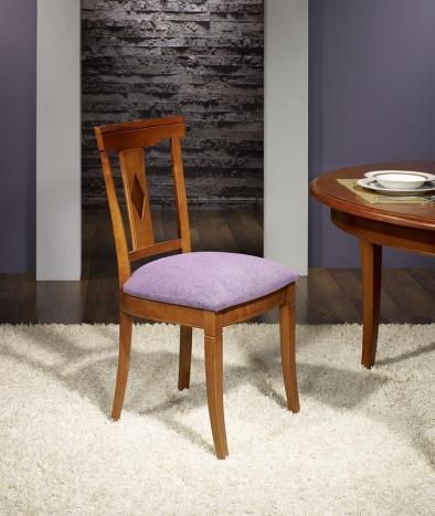 Silla Syriel fabricada en madera de cerezo macizo de estilo Louis Philippe asiento púrpura