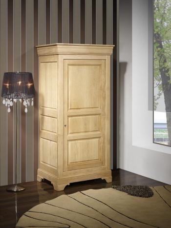 Armario Samuel de 1 puerta fabricado en madera maciza de roble en estilo Louis Philippe acabado Roble Natural cepillado