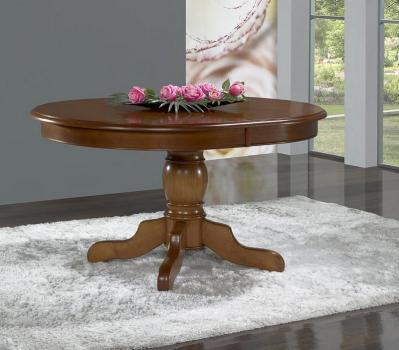 Mesa de comedor ovalada pata central Delphine fabricada en madera de  Cerezo macizo al estilo Louis Philippe 135x110cm