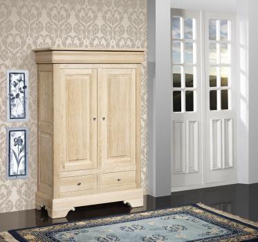 Armario de 2 puertas y 2 cajones fabricado en madera de roble macizo estilo Louis Philippe acabado roble cepillado