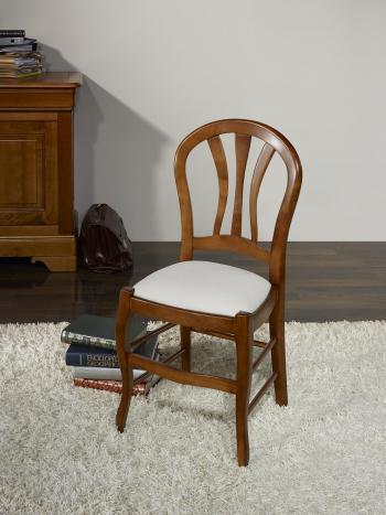 Silla Camille fabricada en madera de haya maciza estilo Louis Philippe asiento de tela