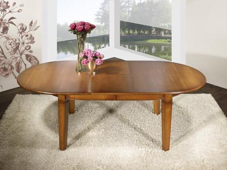 Mesa de comedor ovalada 180x110 fabricada en madera de Cerezo macizo al estilo Louis Philippe