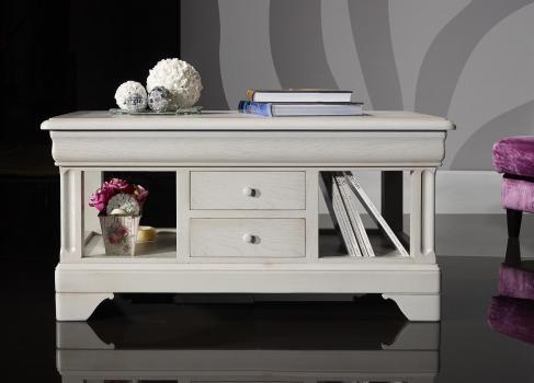 Mesa de centro fabricada en madera de roble macizo estilo Louis Philippe  acabado en roble cepillado gris perla