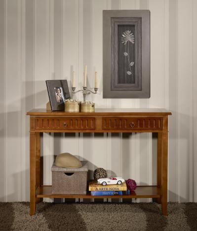 Consola Amelia fabricada en madera de cerezo macizo estilo Directorio